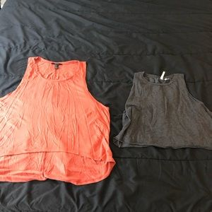 Two piece muscle crop top tank tops